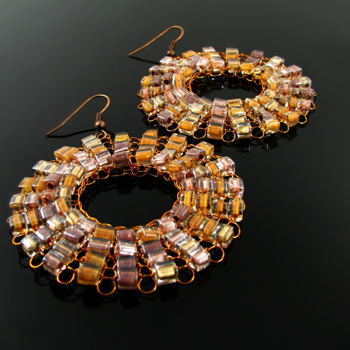 One pair of wire knit disk earrings with glass cubes - choose your color and