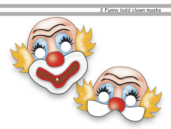 unique clown printable masks party funny by holidaypartystar on zibbet