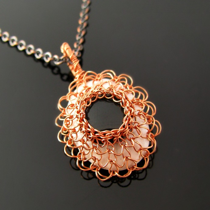Lacy wire knit pendant with howlite and agate