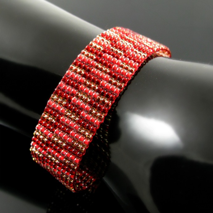 Slim bead loomed snap and wrap red and gold stripes bracelet