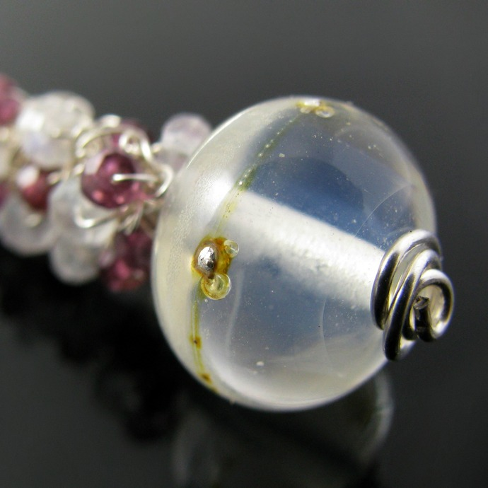 Fine silver wire crochet drop with garnet, moonstone and lampwork