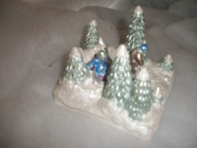 Hand painted  Christmas Village Holiday / Boys Sledding Hill / accessory piece