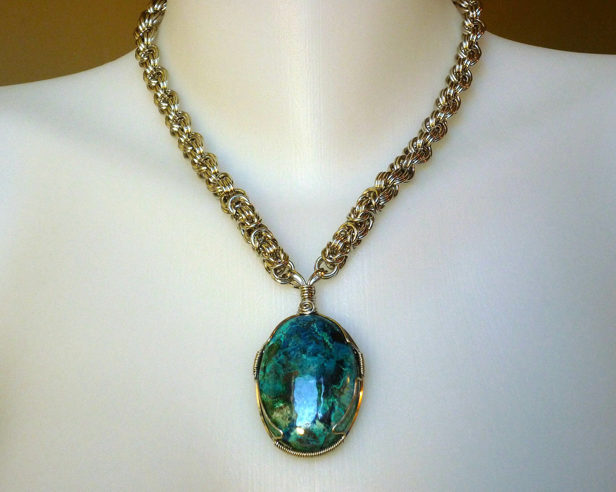 Wire wrapped chrysocolla pendant by eileens jewelry boutique on mozeypictures Images