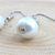Handmade White Single Glass Pearl Short Simple Dangle Earring - Hypoallergenic