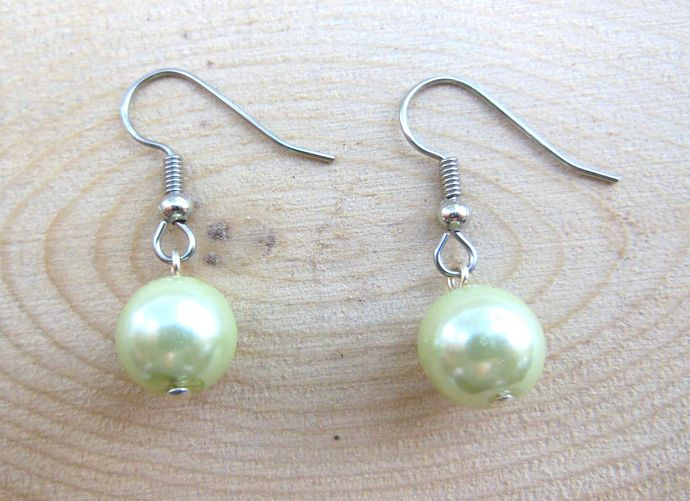 Hypoallergenic Pale Green Glass Pearl Earrings - Simple, Short - Handmade in the