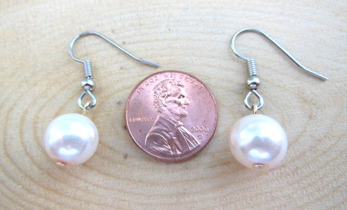 Short Pale Pink Glass Pearl Dangle Earrings