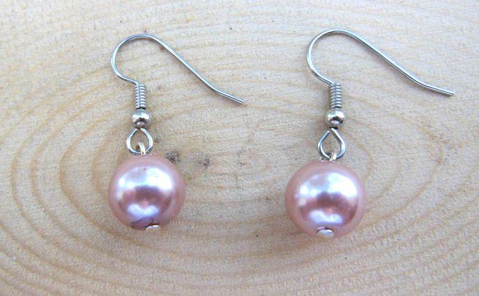 Handmade Hypoallergenic Short Dangle Earrings - Pink, Dusty Rose, Blush - Simple