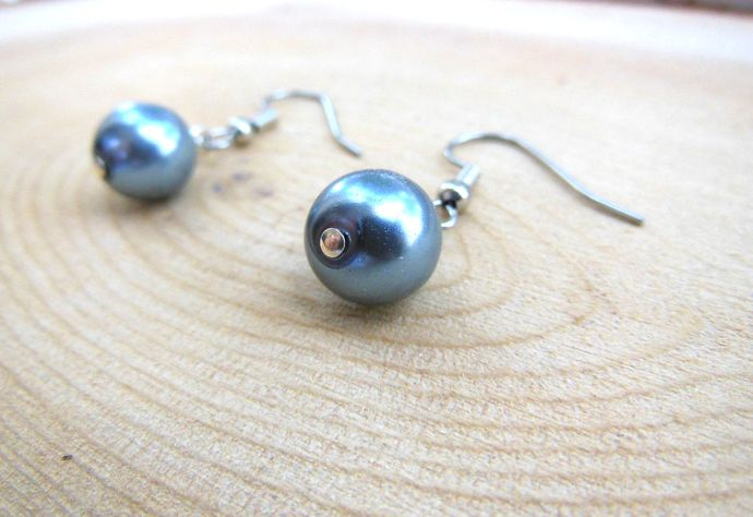 Slate Blue Handmade Short Dangle Earrings - Hypoallergenic Surgical Steel Hook -
