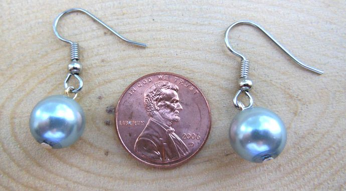 Silver Blue Short Handmade Dangle Earrings - Hypoallergenic Surgical Steel Hooks