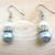 Creamy Linen and Silvery Blue Pearl Earrings - Hypoallergenic Surgical Steel