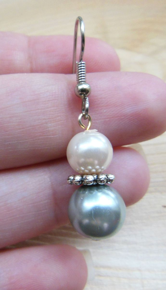 Handmade Silver Blue and Pastel Pink Glass Pearl Dangle Earrings -