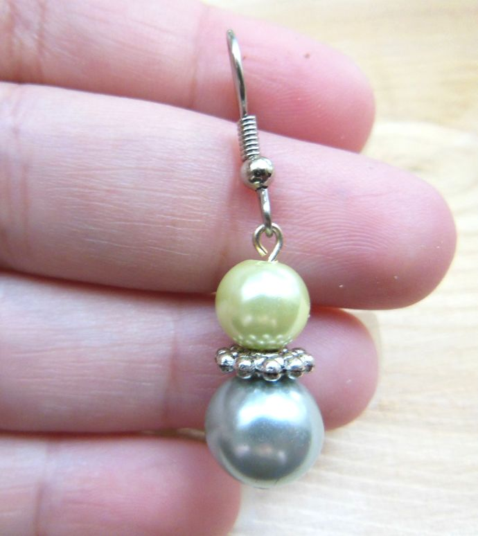 Silver Blue and Pastel, Pale Green Dangle Earrings - Glass Pearls - Handmade,