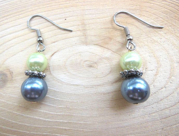 Handmade Pastel Green and Blue Pearl Dangle Earrings - Hypoallergenic Surgical