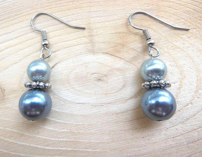Silver and Blue Pearl Earrings - Handmade Short Cute Dangle Earrings -