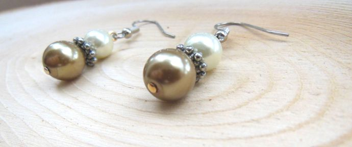 Handmade Honey Brown and Cream Colored Glass Pearl Dangle Earrings -