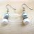 Handmade Pale Pink and Silver Blue Glass Pearl Dangle Earrings - Silver Plated