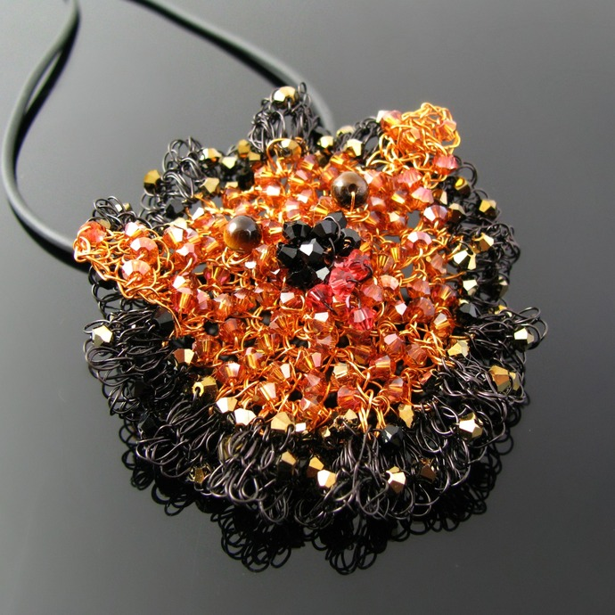 Wire crochet lion head Leo pendant with crystals