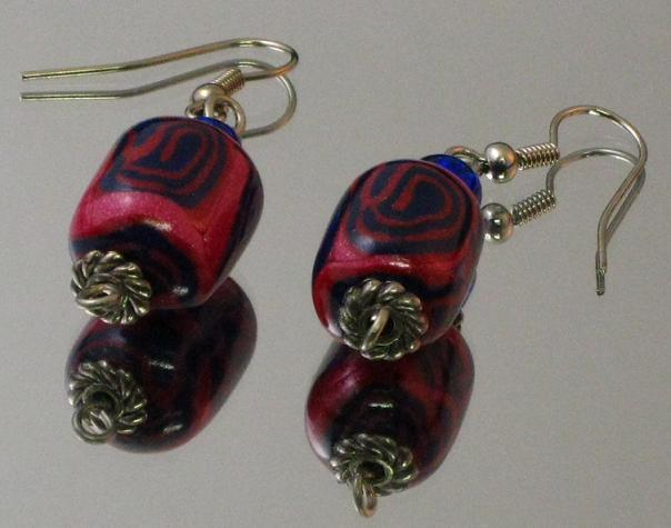 Pink and Purple Spiral Earrings
