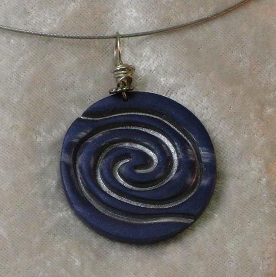Blue and Silver Spiral Pendant