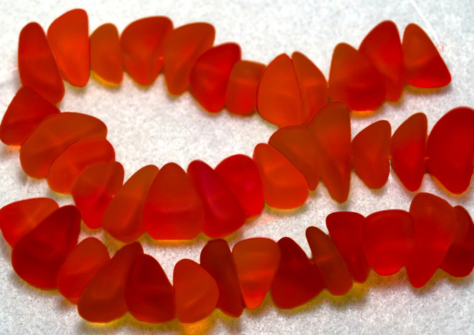 Tangerine Beach Pebbles- recycled sea glass beads