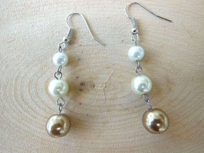 Handmade Ombre Glass Pearl Dangle Earrings - White, Cream, Honey Brown - Lydia