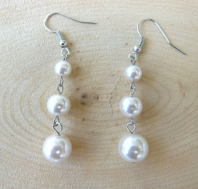 Handmade Glass Pearl Dangle Earrings - Pale Pink - Lydia Collection -