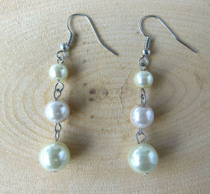 Handmade Glass Pearl Dangle Earrings - Cream, Pale Pink, Pastel - Lydia