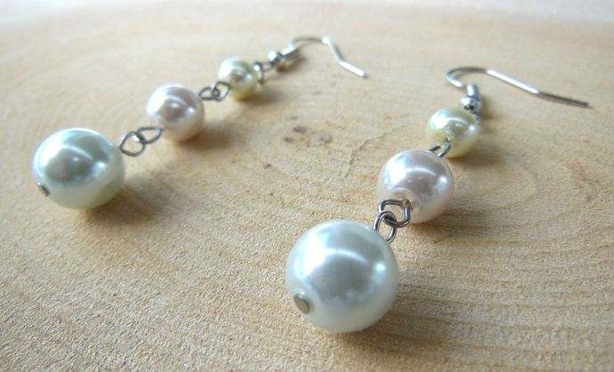 Handmade Glass Pearl Dangle Earrings - White, Pale Pink, Cream, Pastel - Lydia