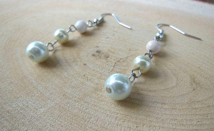 Handmade Glass Pearl, Shell Dangle Earrings - White, Cream - Lydia Collection -