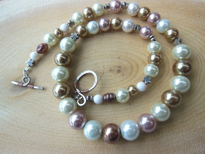 Handmade Tan, Brown, Pink, and White Pearl Necklace - Handformed Copper Clasp -