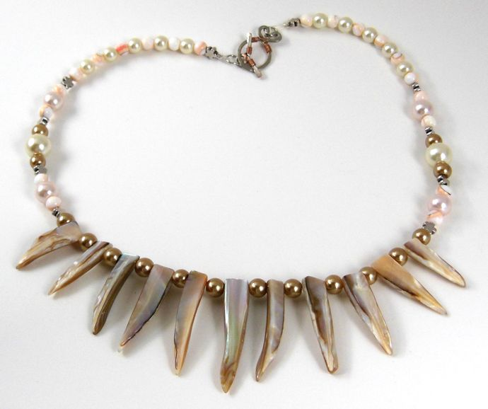 Handmade Statement Necklace, Cream, White, Tan, Linen - Mother of Pearl, Shell -
