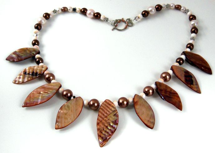 Handmade Statement Necklace - Mother of Pearl, Shell, Glass - White, Pink, &