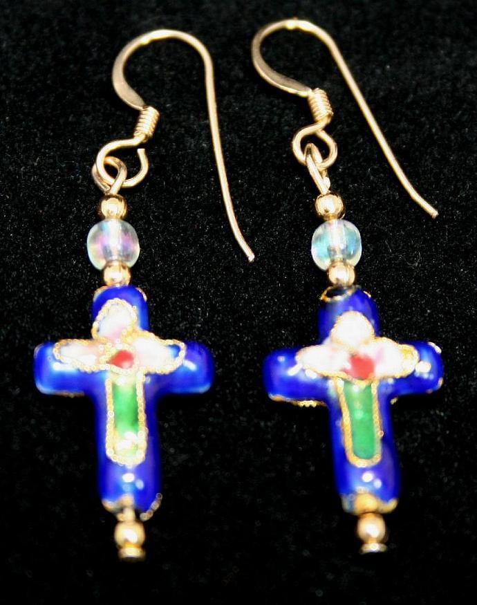 Blue Cloisonne Cross Beaded Earrings