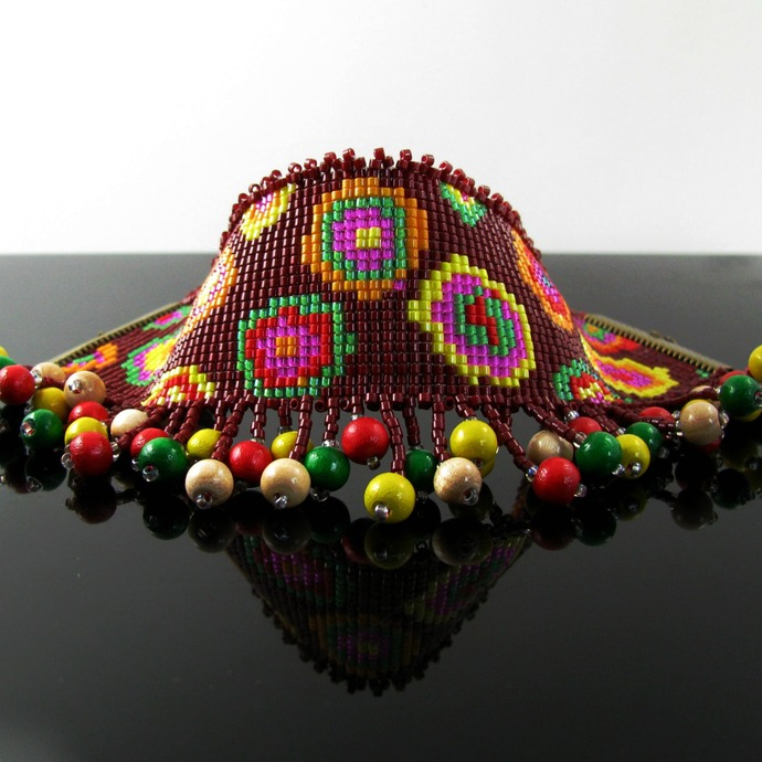 Bead loomed cuff with wood bead fringe - Flower child