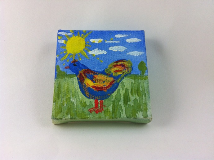 "Mini Chicken Painting on Canvas 2"" x 2"" Original Painting"