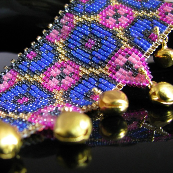 Colorful pink and blue bead loomed bracelet - Bollywood Bells
