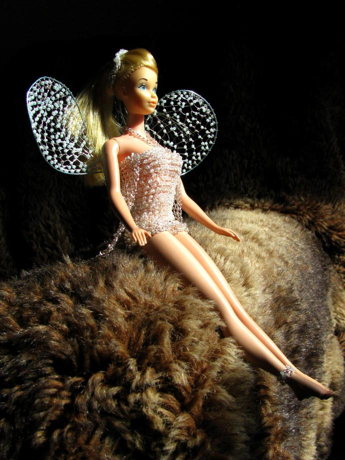 Vintage Barbie in wire crochet fairy suit with netted wings - Glaciele