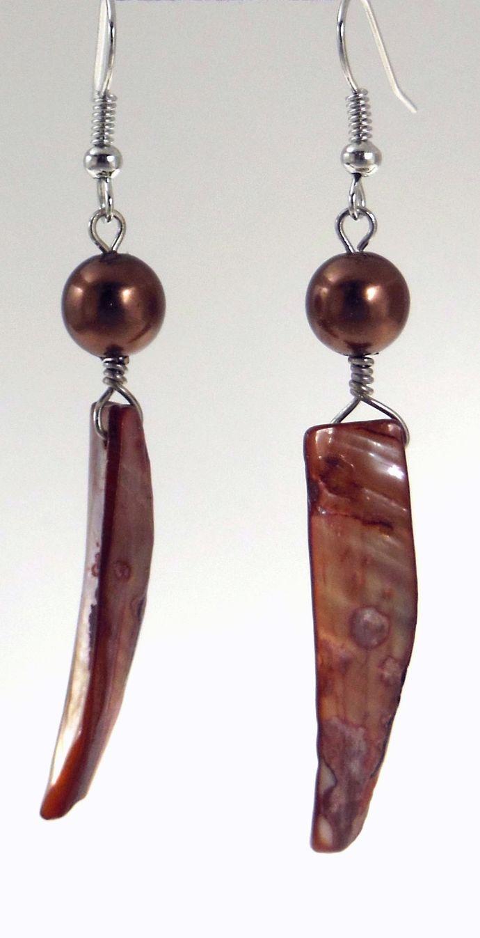 Handmade Mauve Iridescent Tooth-Shaped Shell and Glass Pearl Dangle Earrings -