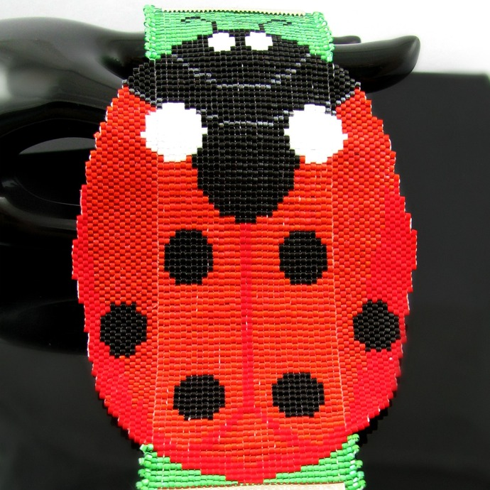 Wide bead loomed giant ladybug cuff -  Coccinellula
