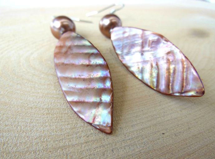 Handmade Copper Pink Iridescent Leaf Shaped Shell and Glass Pearl Dangle