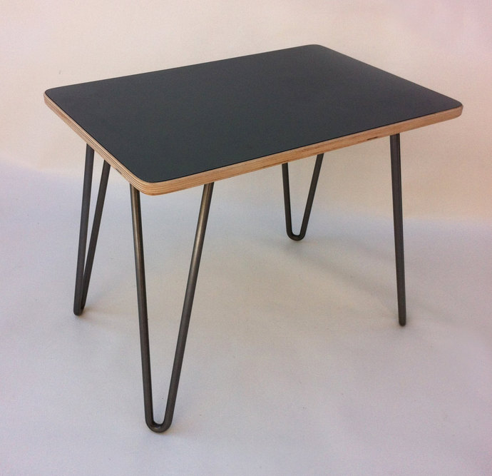 Beau IN STOCK   Mid Century Modern End Table   Laminate Top   Hairpin Legs  Small