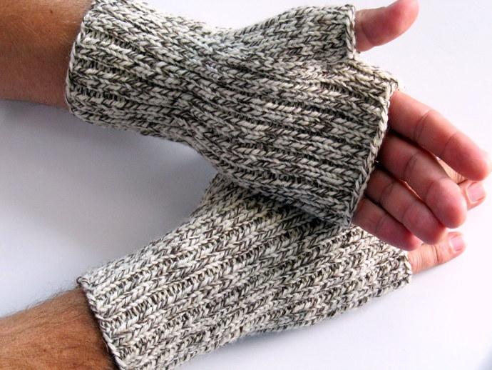 Mens wool fingerless gloves for hunting, biking or texting