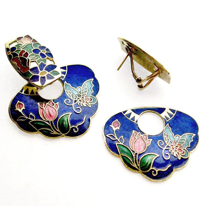 Vintage Door Knocker Pierced Earrings Convertible Cloisonné in Rich Enameled