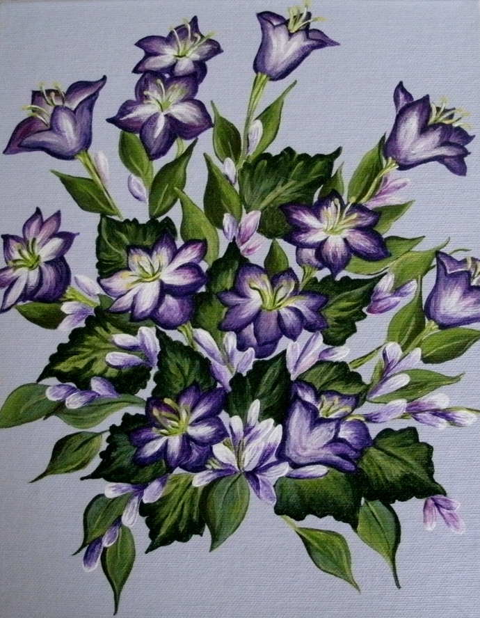 Bellflower Painting, original, fine art, realism, botanical, nature, cottage