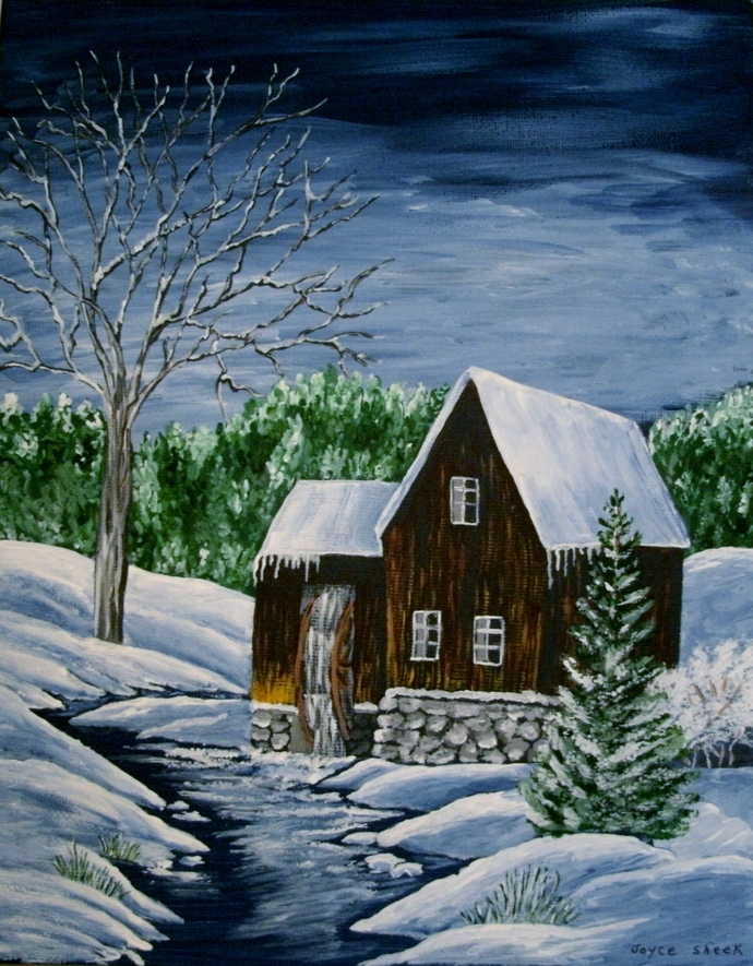 Winter Waterwheel Painting, fine art, original, realism, woodland, rustic,