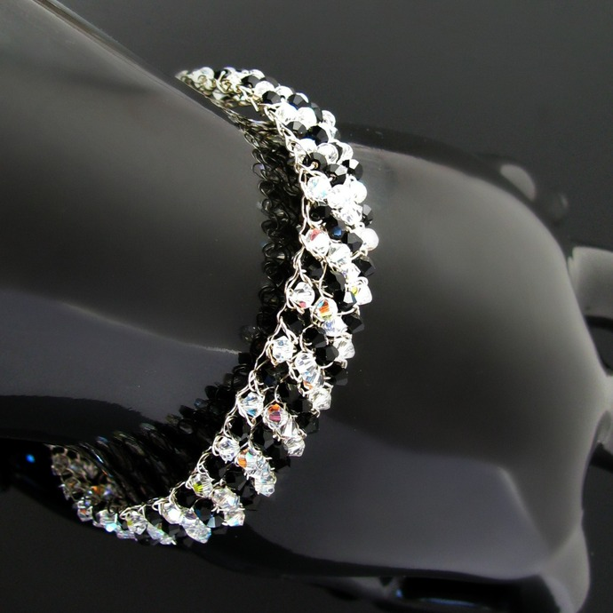 Silver wire crochet bracelet with black and clear crystals stripes