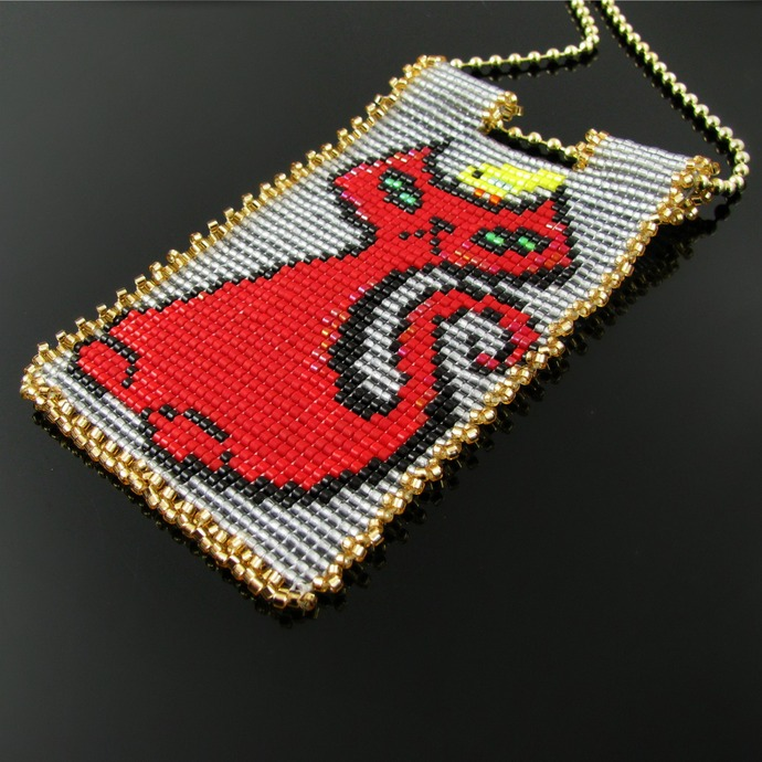 Bead loomed pendant Grouchycat - A HeatherCat