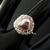 Silver wire crochet ring with pink baroque triangle pearl