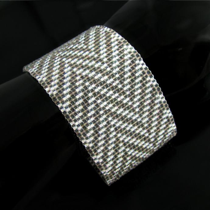 Bead loomed fabric pattern cuff - Taupe and white Herringbone