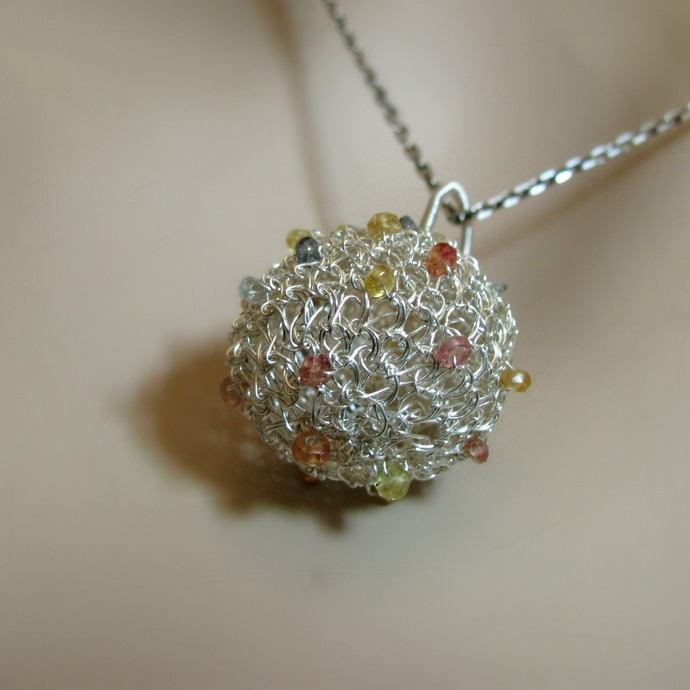 Fine silver wire crochet ball pendant with sapphires